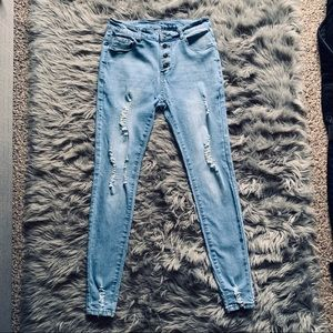 High Rise Ripped Skinny Jeggings